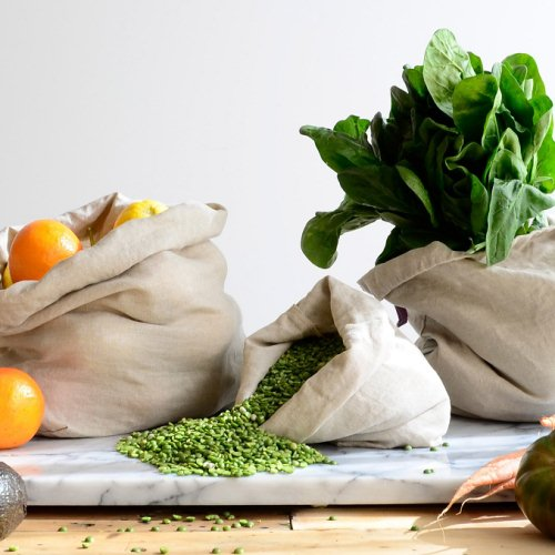 Here's help with your shopping: three Zero Waste produce bags.  Handmade with recycled linen.